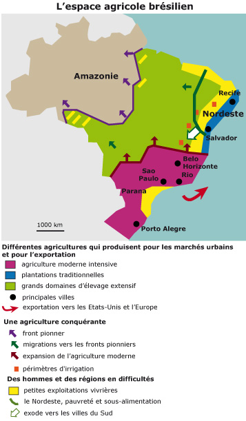 Carte Du Bresil Agriculture.Le Bresil Un Geant Agricole Cours De Geographie 5eme Avec